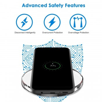 Fast Wireless Charger For,All Qi-Enabled Smartphones (for Fast Charging Use Only Certified 1-2Amp