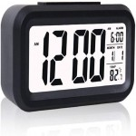 Digital Smart Backlight Battery Operated Alarm Table Clock Automatic Sensor Date & Temperature